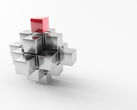 missing piece: 3d maded metal cubes ib a grey background