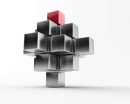 3d maded metal cubes ib a grey background photo