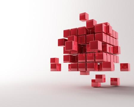 cubo: metal 3D de hacer cubos ib un fondo gris Foto de archivo