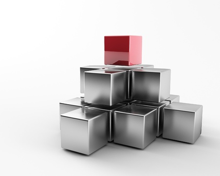 same: 3d maded metal cubes ib a grey background