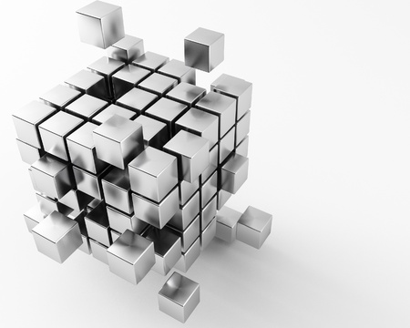 3d maded metal cubes ib a grey background