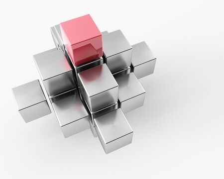 3d maded metal cubes ib a grey background Stock Photo - 8983986