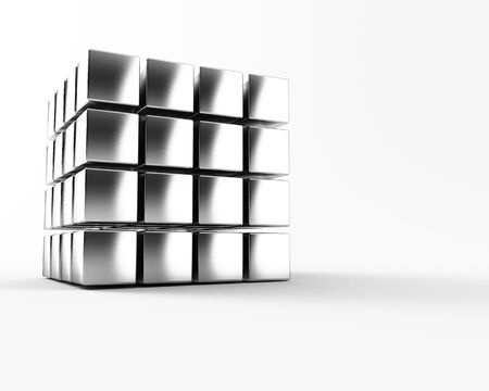 A group of cubes on a white background