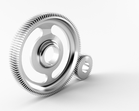 cooperate: a group of 3d maded gears on a grey background.  Stock Photo