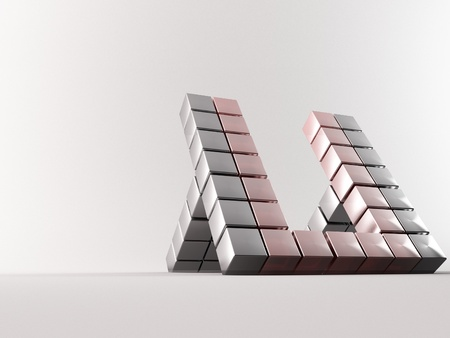 a group of 3d maded cubes photo