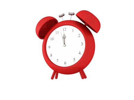 a 3d maded clock on a white background Standard-Bild