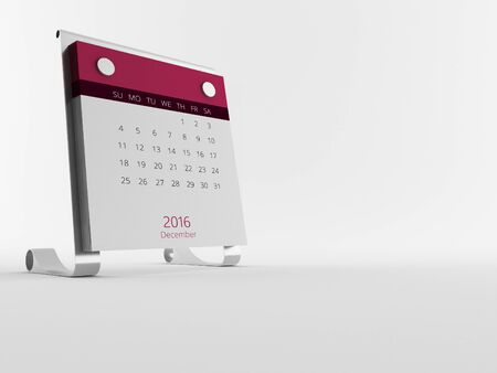 calendary: a Calendar of the year 2016 in white