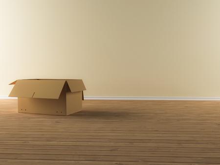 Ein Umzugskarton in einer leeren Wohnung