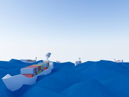 a ship on ocean as low poly Stock Photo
