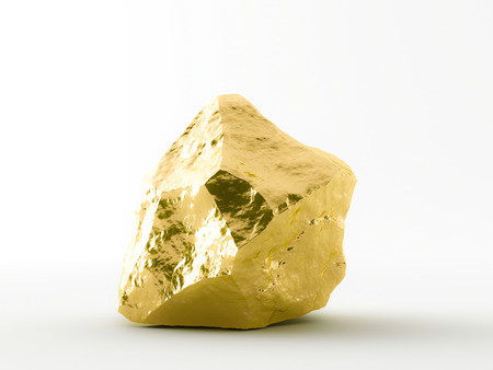 Gold nuggets white background Archivio Fotografico