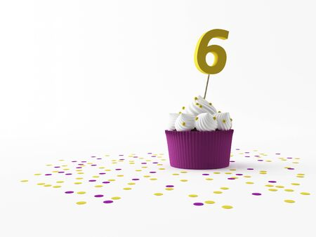 birthday suit: a birthday Cupcake on a white screen Stock Photo