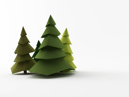 a group of low poly trees Standard-Bild