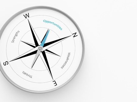 weaknesses: a 3d maded  swot analyse as compass on a white screen Stock Photo