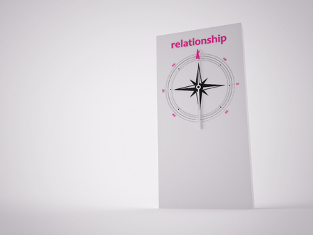 Conceptual 3D render image with a frameless Compass focus on the word relationsip Stock Photo