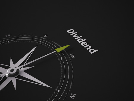 Conceptual 3D render image with a frameless Compass focus on the word Dividend
