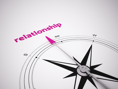 relationsip: Conceptual 3D render image with a frameless Compass focus on the word relationsip Stock Photo