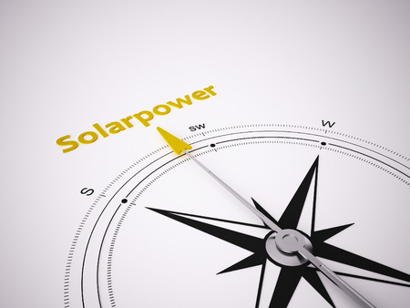 Conceptual 3D render image with a frameless Compass focus on the word Solarpower