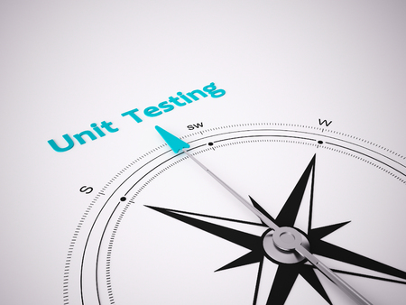 Conceptual 3D render image with a frameless Compass focus on the words unit testing Standard-Bild