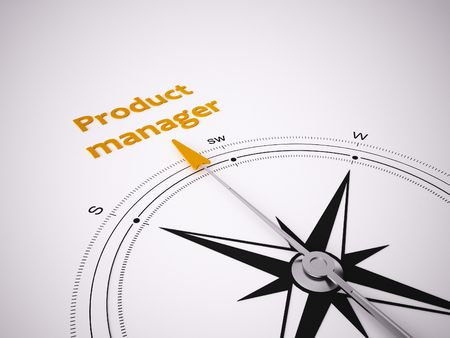 Conceptual 3D render image with a frameless Compass focus on the words product manager