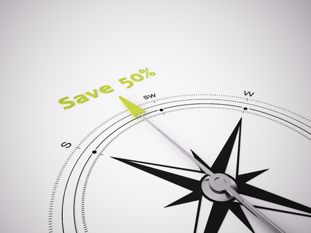 cheaper: Conceptual 3D render image with a frameless Compass focus on saving 50% Stock Photo