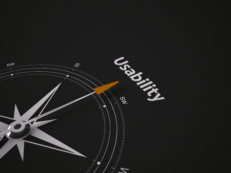 usability: Conceptual 3D render image with a frameless Compass focus on the word usability