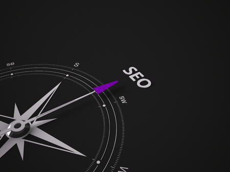 searchengine: Conceptual 3D render image with a frameless Compass focus on the word Stock Photo