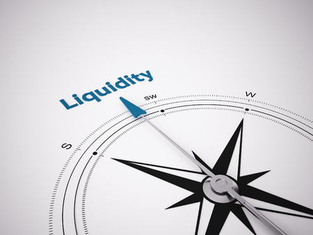 liquidity: Conceptual 3D render image with a frameless Compass focus on the word Stock Photo