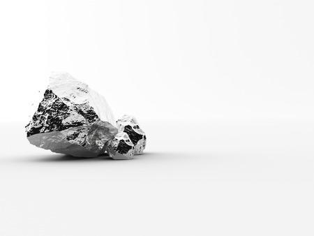 liaison: aluminium nuggets on a white background