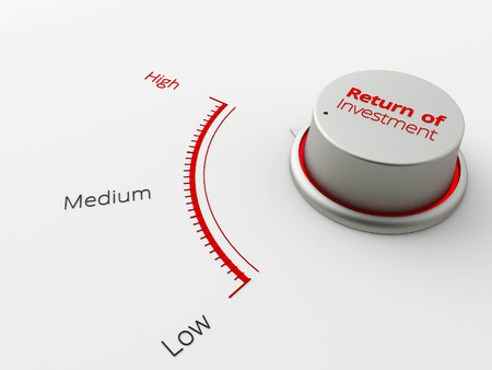 rate of return: A 3d made metal switch on a white background