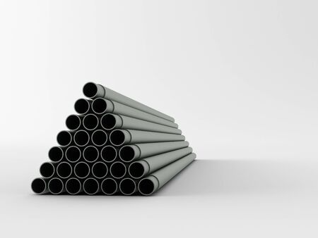 loopable: 3d made steel pipes on white background