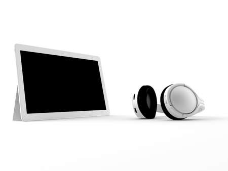 isolation: a 3d maded tablet on a white backgroud with a black isolation
