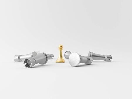 Realistic chess figures made in 3d in silver and gold Standard-Bild