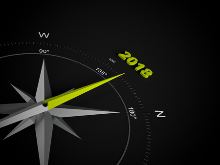 next year: a 3d rendering maded compass on a white screen Stock Photo