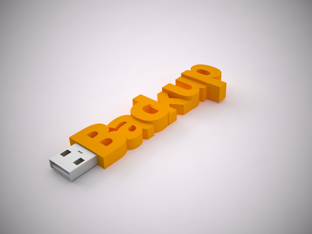 a 3d rendering usb stick on a grey background