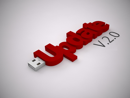 delievery: a 3d rendering usb stick on a grey background