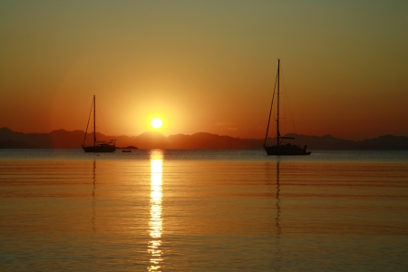 Sailboats Sunset in Datça-Turkey