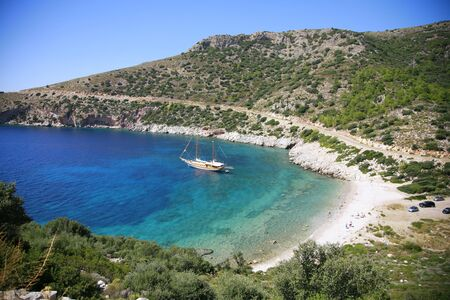 Sailboat in beautiful bay in Datça-Turkey Stock Photo