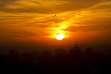City sunset in Istanbul in smog Stock Photo