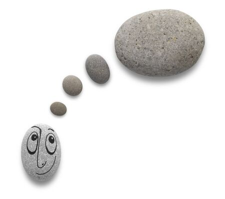Thinking baloon and cute character with funny facial expression on pebble