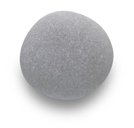 Grey pebble on white