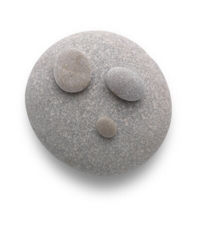 Cute head with pebbles on white background