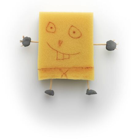 Very cute face draw on sponge toy Stock Photo