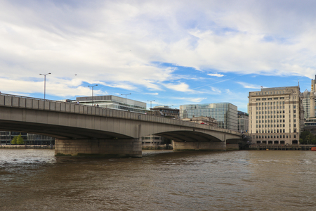 London Bridge on a cloudy sunny day.