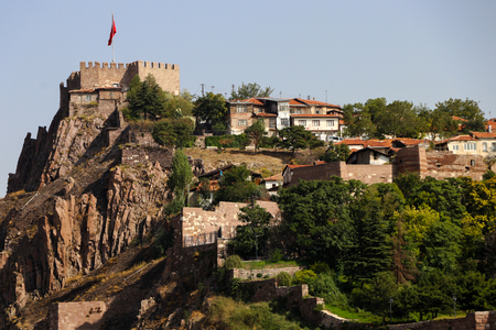 The old fortress of Ankara, also known as Ankara Kalesi, with the flag of Turkish Republic over it.