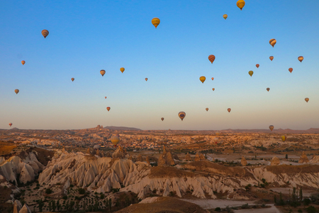 Cappadocia, Turkey - September 13, 2017: Panoramic view of Cappadocia. Cappadocia is known around the world as one of the best places to fly with hot air balloons. Éditoriale