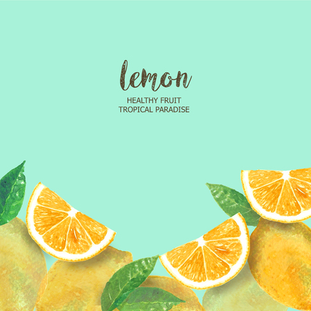 Lemon background flat layout watercolor fresh slice cut lemon,citrus fruits. Hand drawn watercolor painting on mint background. illustration of Set organic food diet fruit. Stok Fotoğraf