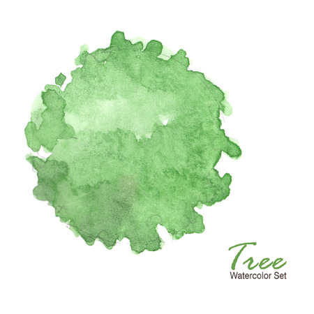 top tree watercolor set isolated on white background ; illustration watercolor
