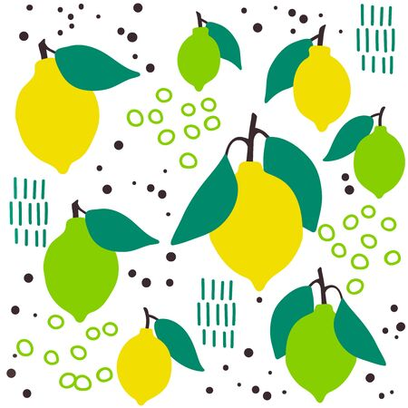 Fresh lemon lime fruit seamless pattern, abstract repeated background. Citrus design for paper, cover, fabric, gift wrap, wall art, interior dcor. Simple artistic drawing.