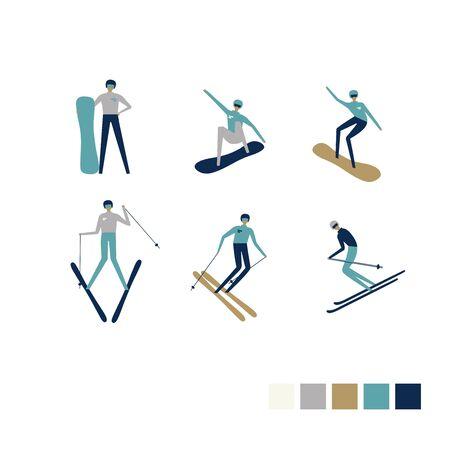 Wintersportler, die auf Snowboard oder Ski bergab fahren. Extremsportler-Charakterdesign. Vektor-Illustration. Getrennt auf Weiß.