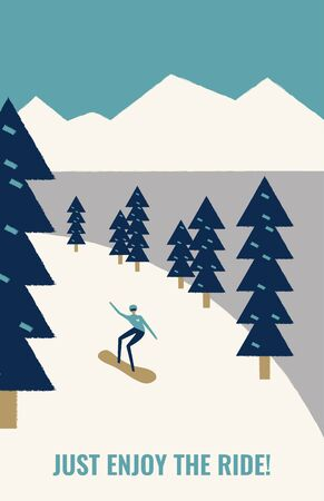 Person  snowboarding downhill on snow in fir tree forest. Free rider. Retro poster concept. Extreme winter sports and recreational outdoor activity.  Flat vector illustration in cartoon style. Stock Illustratie